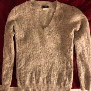 JCrew Grey Cable Knit V-Neck Sweater Wool Cashmere